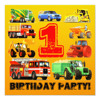 Baby Boy Construction Trucks 1st Birthday Party Invitation