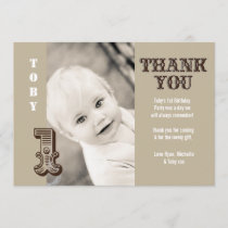 Baby Boy Cowboy 1st Birthday Thank You Photo Card