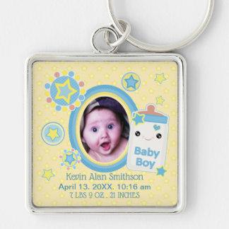 Baby Boy Custom Birth Announcement Keychain