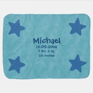 Baby Boy Custom Name Birth Info Blue Stars Clouds Baby Blanket