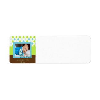 Baby Boy Custom Photo Polka Dot Announcement Label