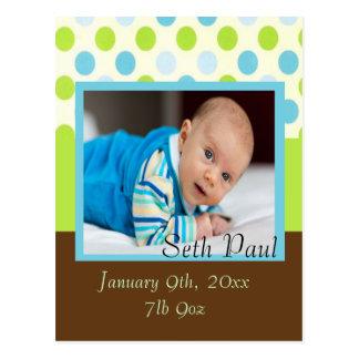 Baby Boy Custom Photo Polka Dot Announcement Postcard