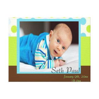 Baby Boy Custom Photo Polka Dot Keepsake Canvas Print