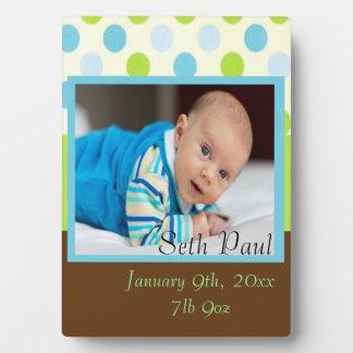 Baby Boy Custom Photo Polka Dot Keepsake Plaque