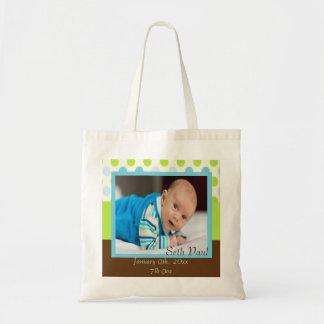 Baby Boy Custom Photo Polka Dot Keepsake Tote Bag