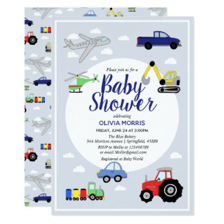 Baby Boy Cute Blue Car Train Transport Baby Shower Invitation