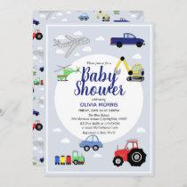 Baby Boy Cute Blue Car Train Transport Baby Shower Invitation