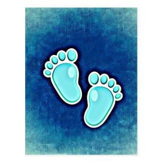 baby boy cute footprints infants crib newborn blue postcard