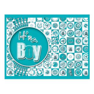 Baby boy cute retro invitations & cards postcard