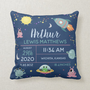 Baby Boy Cute Space Alien Birth Stats Name Throw Pillow