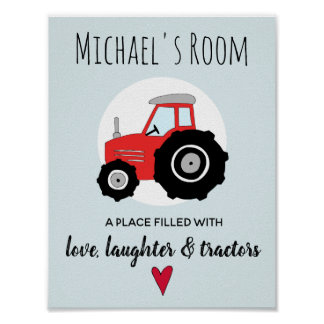 Baby Boy Doodle Red Farm Tractor and Name Nursery Poster