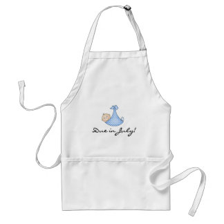 Baby Boy Due in July Adult Apron