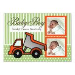 "Baby Boy Dump Truck Photo 5"" X 7"" Invitation Card"