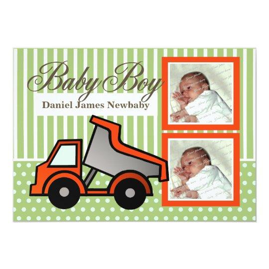 Baby Boy Dump Truck Photo Card