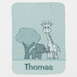 Baby Boy Elephant and Giraffe Baby Blanket