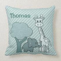Baby Boy Elephant and Giraffe Throw Pillow