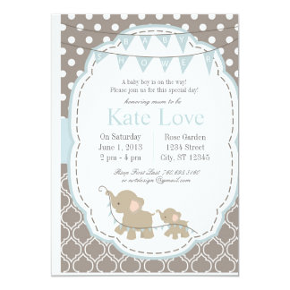 Baby Boy Elephant - Baby Shower Invitation