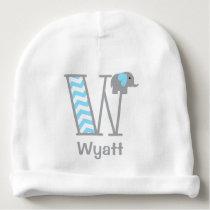 Baby Boy Elephant Blue Chevron Hat Monogram W