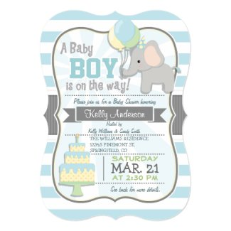 Baby Boy Elephant, Jungle Animal Baby Shower Card