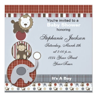 Baby Boy Elephant,Monkey and Lion Baby Shower Invi 5.25x5.25 Square Paper Invitation Card