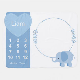 Baby Boy Elephant Photo Prop Receiving Blanket