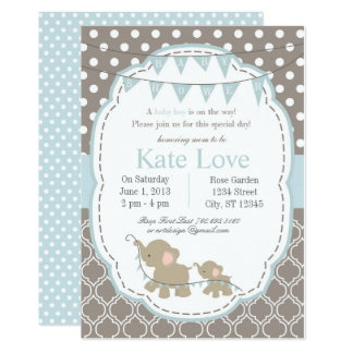 Baby Boy Elephant Shower Invitation - Blue