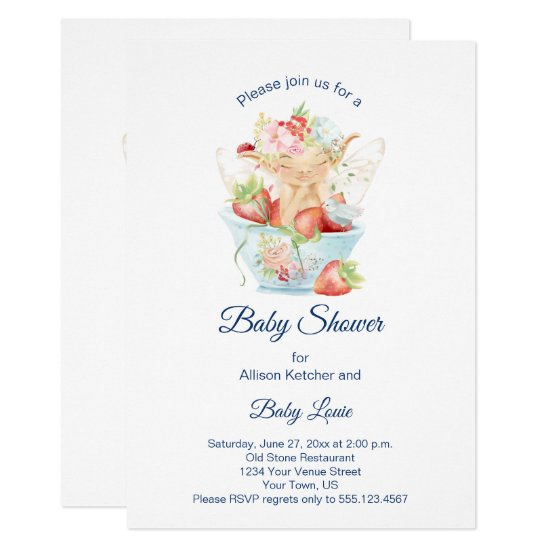 Baby Boy Fairy in Blue Teacup Baby Shower Invitation