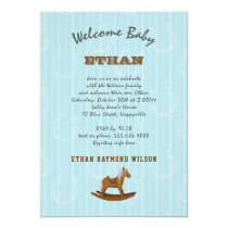 Baby Boy Family Shower Rocking Horse Invitation
