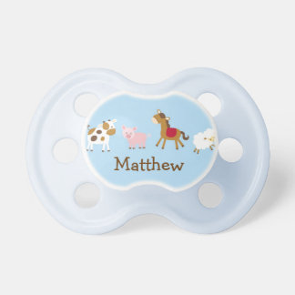 Baby Boy Farm Animal Personalized Pacifier