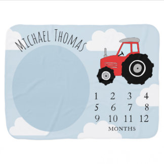 Baby Boy Farm Tractor & Name Monthly Milestone Baby Blanket