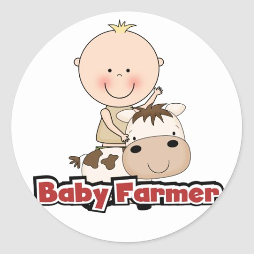 Baby Boy Farmer With Cow Tshirts and Gifts Stickers