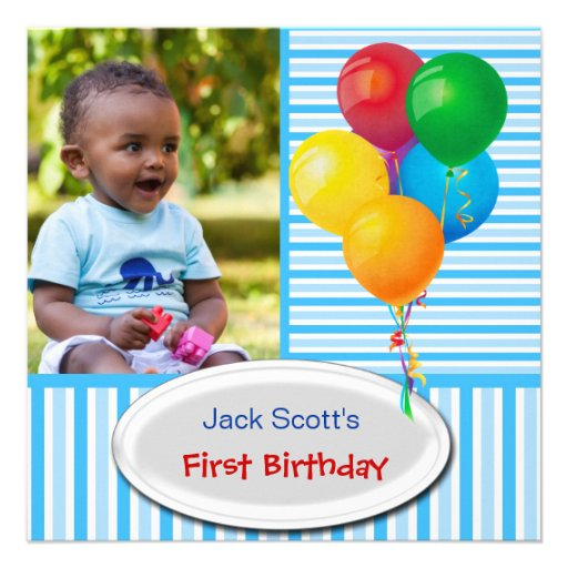 Baby Boy First Birthday 1st Colorful 5.25x5.25 Square