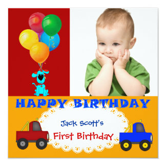 Baby Boy First Birthday 1st Colorful Puppy Trucks Personalized Invitation