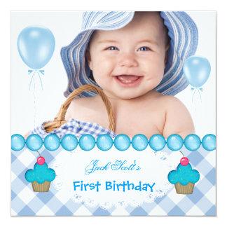 Baby Boy First Birthday 1st Cupcakes Blue Card