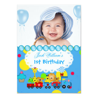 Baby Boy First Birthday 1st Train Blue Card