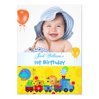 Baby Boy First Birthday 1st Train Blue Yellow 4.5x6.25 Paper Invitation Card