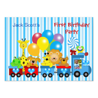 Baby Boy First Birthday 1st Train Photo Animals Card