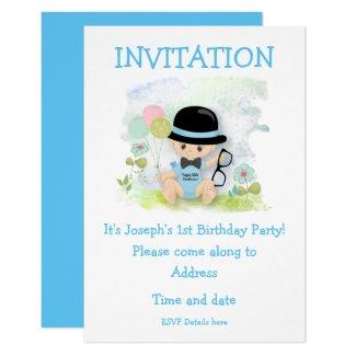 Baby Boy First Birthday Party Invitation