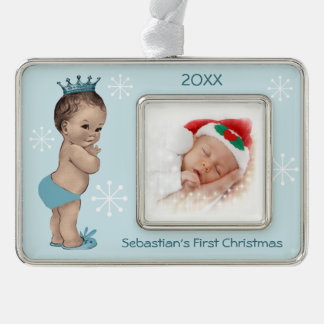Baby Boy First Christmas Blue Vintage Prince Silver Plated Framed Ornament