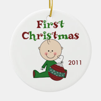 Baby Boy First Christmas Dated Ornament