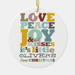 Baby Boy First Christmas Holiday Photo Ornament