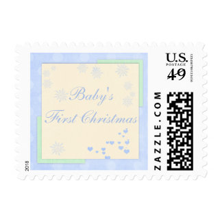 Baby Boy First Christmas Postage Stamp