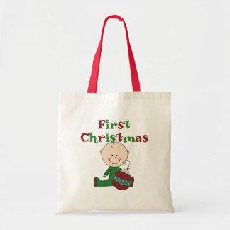 Baby Boy First Christmas Tote Bag