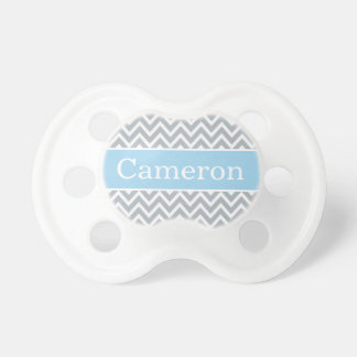 Baby Boy First Name | Blue Gray Chevron Pacifier