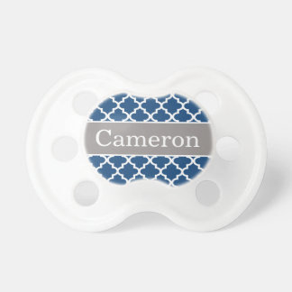 Baby Boy First Name | Gray and Blue Patterned Pacifier