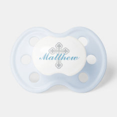 Baby Boy First Name | Silver Cross Pacifier at Zazzle