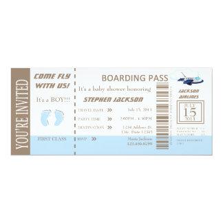 Baby Boy Flight Ticket Invitation Customizable