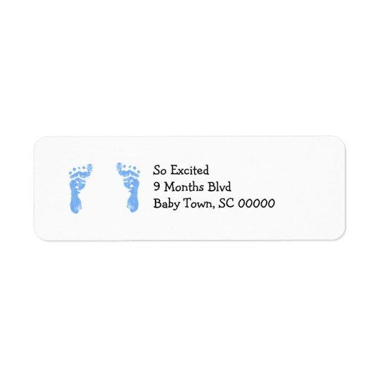 Baby Boy Footprint Return Address Lables Label
