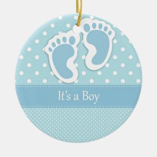 Baby Boy Footprints Adorable Ceramic Ornament