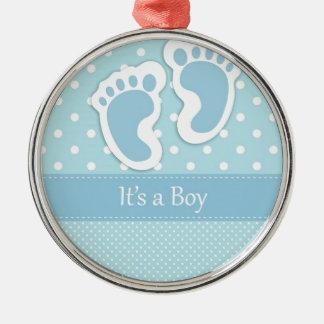 Baby Boy Footprints Adorable Metal Ornament